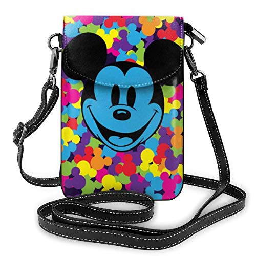 Cartoon Mi-ckey Mouse Phone Purse Women's Crossbody Handbags Lightweight Bags Women Purse Leather Cellphone Holster Wallet Case Shoulder Bags Removable Shoulder Strap Fashion-OEX
