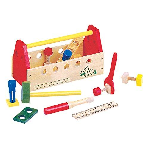 Bino & Mertens 82146 - Werkzeugkasten aus Holz, tragbar, bunt, 20tlg., Konstruktionsspielzeug für kleine Baumeister, kplt. mit Schrauben, Muttern, diverse Werkzeuge und Bauteile. Größe 30x14x16,5 cm