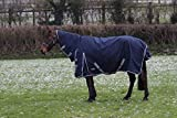 JUMP EQUESTRIAN TURNOUT RUGS FOR HORSES 100G FILL COMBO NECK WATERPROOF TURNOUT RUG 600 D (5'6'', NAVY)