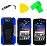 Hybrid Cover Case Cell Phone Accessory + Screen Protector + Extreme Band + Stylus Pen + Pry Tool For ZTE Majesty PRO LTE Z798BL Z799VL / Majesty Pro Plus Z899VL (T-Stand Black Blue)