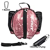 Y-Nut Basketball Bag with Pocket Size Manual Air Pump, Basketball Shoulder Bag for Outdoor Sport, Great for Carrying Basketball, Soccer Ball, Volleyball, Pink