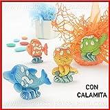 Ingrosso e Risparmio 12 Magneti a Forma di Simpatici animaletti marini in Resina Colorata, pensierini, bomboniere Tema Mare Compleanno Bambino/Bambina (Senza confezionamento)