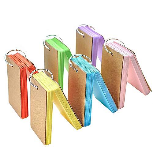 6 Stück Lernkarten Pocket, XCOZU Karteikarten mit Ring Vokabel Lernen Ring Notizblock, Lernkarten mit Ring Mini Karteikarten Blanko Lernkarten Unterwegs (90 x 55mm, 300 Blatt)