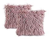 2 Stücke Flauschige Kissenbezüge Altrosa Bestellt 45 x 45 cm, weiche kuschelige mongolische Pelz-Kissenbezüge für Bett, Couch dekorative Pelziger Kissenbezug