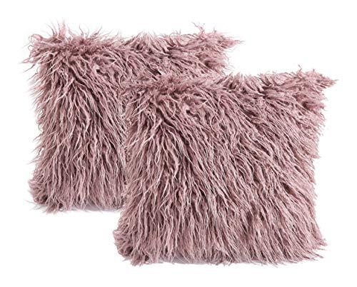 3C Collection (Paquete de 2) Fundas de cojín mullido Rosa polvorienta - Funda de cojín de piel mongol suave y suave para la cama Rosa polvorienta 45 x 45 Centimetros