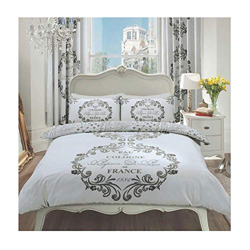 Lions Modern Script Paris Bedding Set, Duvet Quilt Cover with Pillowcase, Reversible, Easy Care, Silver, Kingsize Bed, 230x220cm