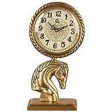 Reloj de chimenea con esfera digital y decoración de caballo, reloj de escritorio retro con diseño de mudo, reloj de cobre con pilas para sala de estar, colección de decoración antigua