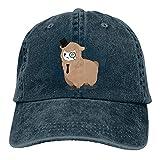 Hdadwy Alpaca Detective Sheep Retro Ajustable Cowboy Sombrero de Mezclilla Unisex Hip Hop Gorras de béisbol Negras
