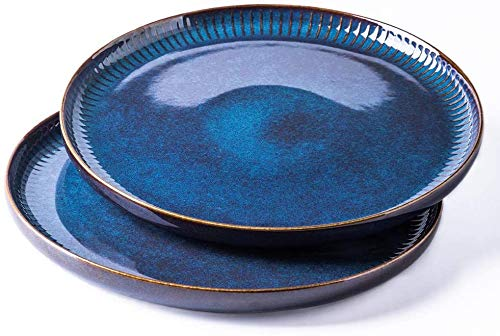 XKP 2er Set Frühstücksteller Keramik, Speiseteller runder Essteller aus hochwertigem Porzellan 26.5cm (Blau)