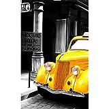 Yiwuyishi Póster de Lienzo de Paisaje, Arte de Pared, Blanco y Negro, autobús Amarillo, Coche, Pinturas, Cuadro de construcción, Arte de Pared de Sala de Estar 50x70cm P-1968