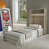 Maconi - Mueble cama Link 539 de madera de 85 cm - Acabado: blanco venado