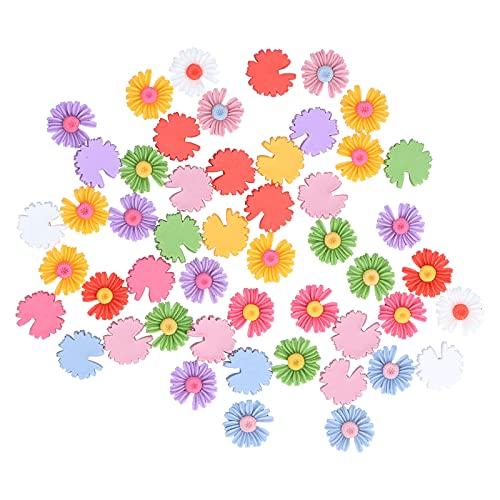 AUNMAS 50 Unids Mini Flor de Resina Colores Mezclados Sin Agujero Daisy Encantos de Espalda Plana Flores de Margarita Cameo Charms para Pegar Joyería DIY Pendientes Anillos