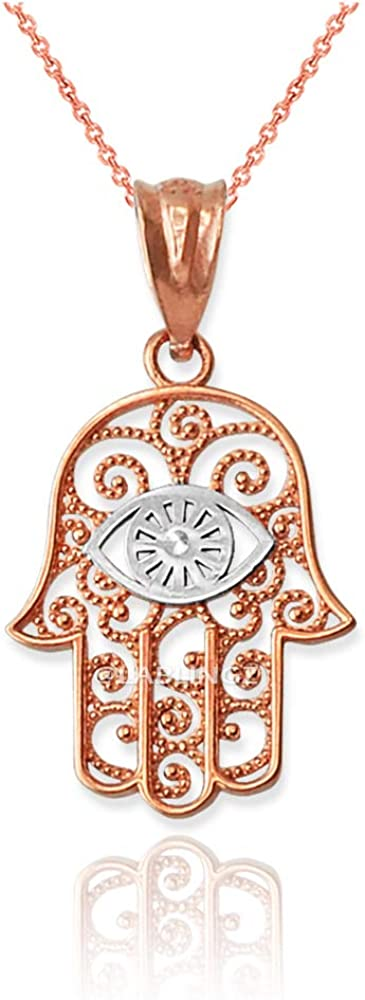 LA Raleigh Mall BLINGZ 10K Two-Tone Max 72% OFF Rose Gold Hamsa Necklace Eye Evil Charm