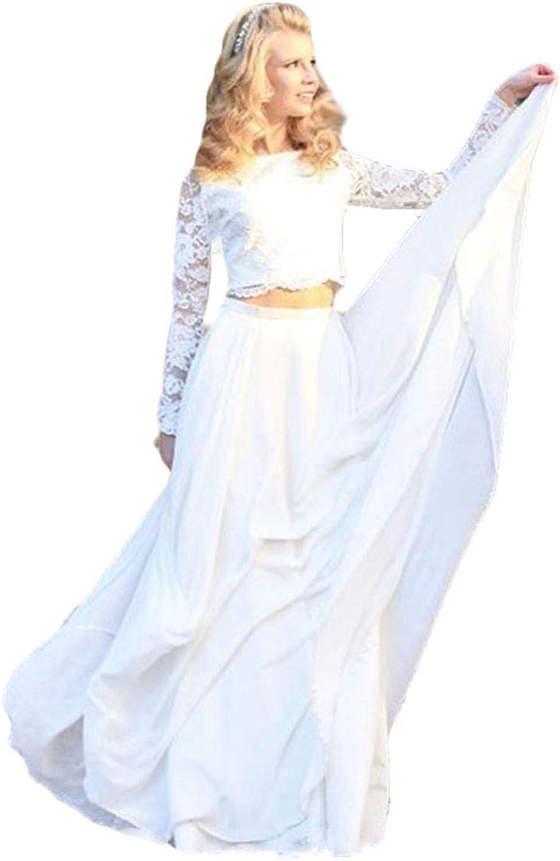 WZW Long Sleeve Two Piece Wedding Dress Lace Princess Floor Length Boho Bride Dress 2019