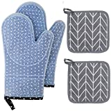 HOUMESO Oven Mitts and Pot Holders 4pcs Sets,Silicone Oven Gloves 500 F Heat Resistant, Soft Cotton Liner Non-Slip Oven Mitt for Kitchen , Black