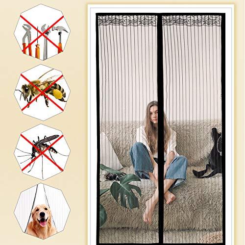 moinkerin Magnetisch Fliegengitter Balkontür Insektenschutztür Ohne Bohren für Türen, Sommerlüftung Von Mückeninsekten Fernhalten(90 * 210cm)