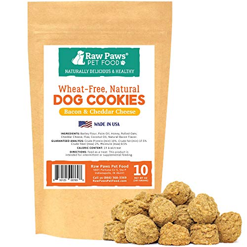 Raw Paws Cheese & Bacon Dog Treats, 10-oz - Dog Gourmet Cookies Made in USA Only - Wheat, Corn, Soy & Preservative Free - Cheese Dog Treats - Natural Oven-Baked Soft Dog Treats