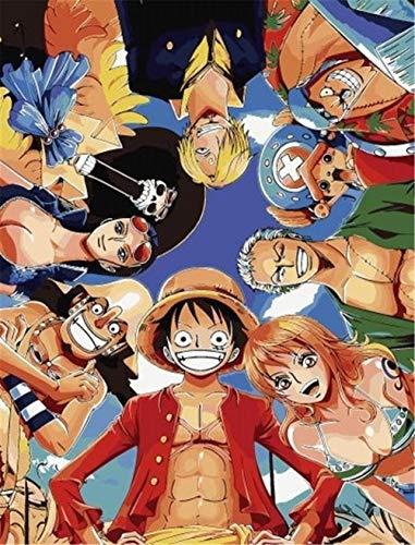 Mmjjshdp Anime De One Piece Pintar por Numeros para Adultos Niños Pintura por Números con Pinceles Y Pinturas Decoraciones, DIY Conjunto Completo De Pinturas para El Hogar(E)