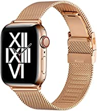 ZXCASD Compatible with Apple Watch Bands 44mm 42mm 40mm 38mm Folding Buckle Mesh Adjustable Strap Wristband Stainless Steel Loop for iWatch Series SE/6/5/4/3/2/1 for Men Women(Rose Gold,38mm 40mm)