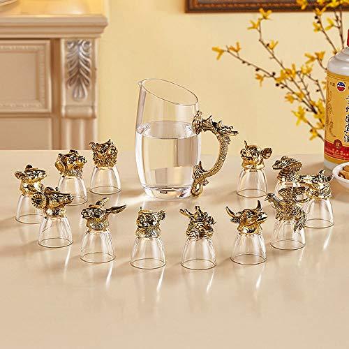 Chinese Zodiac Witte Wijnglas Set, Household Chinese Glas Aardewerk Voor, 12 Kleine Wine Glass, Sake Barrel, Wijn Barrel, Wijn Cadeau, Wijnaccessoires