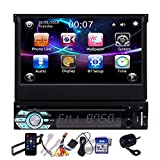 Touch Screen Car Stereo Backup Camera CD Player with Bluetooth Single Din 7 Inch Auto Radio GPS Navigation in Dash 1 Din Digital Media Recevier DVD Player Support USB SD FM AM AUX-in