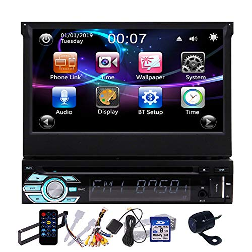EINCAR Touch Screen Car Stereo Backup Camera CD Player with Bluetooth Single Din 7 Inch Auto Radio GPS Navigation in Dash 1 Din Digital Media Recevier DVD Player Support USB SD FM AM AUX-IN