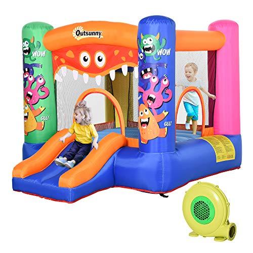 Outsunny Casa Gioco Gonfiabile Gigante per Bambini 3-12 Anni Trampolino Rimbalzante Colorato con Scivolo e Canestro 2.9x2x1.55m