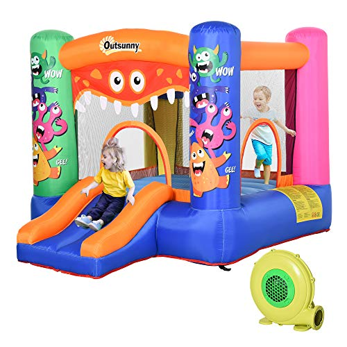 Outsunny Kids Bounce Castle House Inflatable Trampoline Slide Basket with Inflator for Kids Age 3-12 Monster Design 2.9 x 2 x 1.55m Multi-color