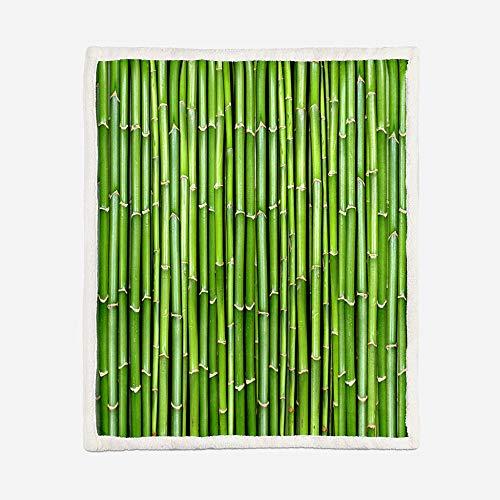 Coperta Stampata Morbida peluche Coperta Zattera di bambù verde Sherpa Coperta in Pile Coperta per ufficio Coperta per Famiglia Divano Letto Coperta 130X150CM