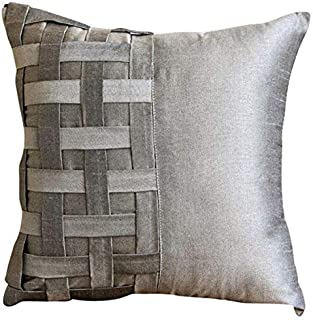 The HomeCentric Handmade Silver Grey Decorative Pillow Covers 16x16 inch, Silk Throw Pillows for Couch, Solid Color, Pintucks, Textured, Basket Weave, Modern Pillowcase - Grey Silver Bricks