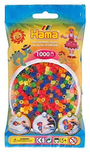 Hama 207-51 - Bügelperlen im Beutel, ca. 1000 Stück, neon-Mix