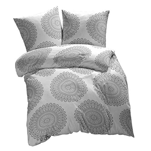 etérea 2 TLG. Mikrofaser Bettwäsche-Set - Ganzjahres & 4-Jahreszeiten Bettbezug - Mandala Grau, 140x200 + 70x90 cm