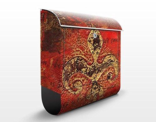 Apalis Design Briefkasten Secret in Patina 39x46x13cm Ornament Lilie Abstrakt Alt, Größe:46cm x 39cm