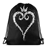 Lsjuee Kingdom Hearts 3D Print Mochila con cordón Mochila Bolsa de Hombro No Tejido Durable Sports Gym Sack Cinch Bag 16,9 x 14 Pulgadas