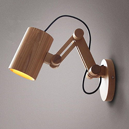 JUIANG Lampes en bois modernes de lampe de mur de chêne pour l'éclairage à la maison de chambre à coucher, applique murale en bois solide d'Applique murale