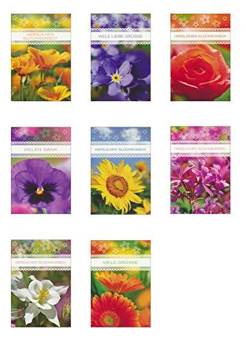 50 Grußkarten Allgemeine Glückwünsche mit Blumen 11,5 x 17 cm Glückwunschkarten Taunus Grußkarten Verlag 41-2000