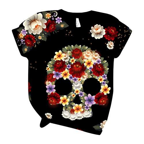 Camiseta para Mujer Verano con Cuello Redondo y Manga Corta con Estampado de Calavera 3D Bluas Suelto Casual Fiesta T-Shirt Original riou