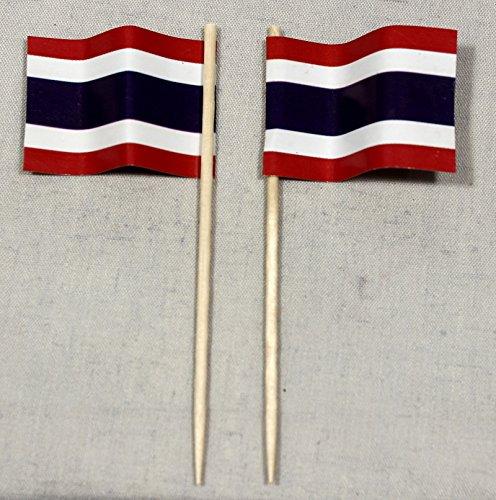 Buddel-Bini Party-Picker Flagge Thailand Papierfähnchen in Profiqualität 50 Stück Beutel Offsetdruck Riesenauswahl aus eigener Herstellung