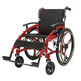 OLDHF Silla de Ruedas Plegable | autopropulsable | de Aluminio, Reposabrazos abatibles,para usuarios Mayores, discapacitados y discapacitados, para la Independencia o Comodidad del Cuidador