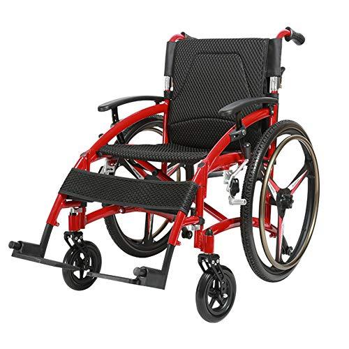 BYGenMai Rollstühle Leichter faltender Aluminium Propeller Rollstuhl mit 24 Zoll Vollgummireifen, wegschwenkbare Fußstütze, beidseitige Bremse, manueller Einsatz, tragbar bis 100 kg (220,5 Pfund)