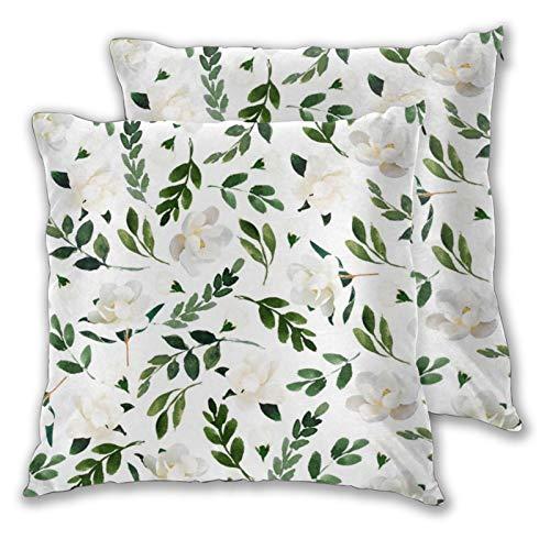 KCOUU Funda de cojín de microfibra suave decorativa con diseño de árbol de magnolia para sofá dormitorio con cremallera invisible 45,7 x 45,7 cm, juego de 2