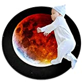 Blood Moon Baby Crawling Mats Game Blanket Floor Playmats Kids Infant Child Activity Round Rug,39.4x39.4IN