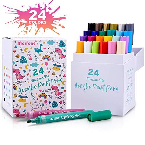 Morfone Acrylstifte Marker Stifte, Set mit 24 Farben Acrylfarben Marker auf Wasserfest für Felsmalerei, Leinwand, Fotoalbum, Heimwerken, Schulprojekt, Glas, Keramik, Holz, Metall (MEDIUM TIPP)