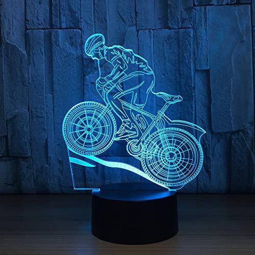 BFMBCHDJ Mountainbike 3D Nachtlicht 3D Illusion Lampe 7 Farbwechsel LED Nachtlicht USB Tischlampe als Hauptdekoration Licht