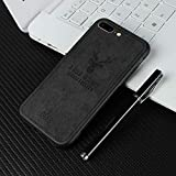 Navnika® Deer Cloth Canvas Texture Fabric Leather Case for Apple i-Phone 8 Plus (Black)