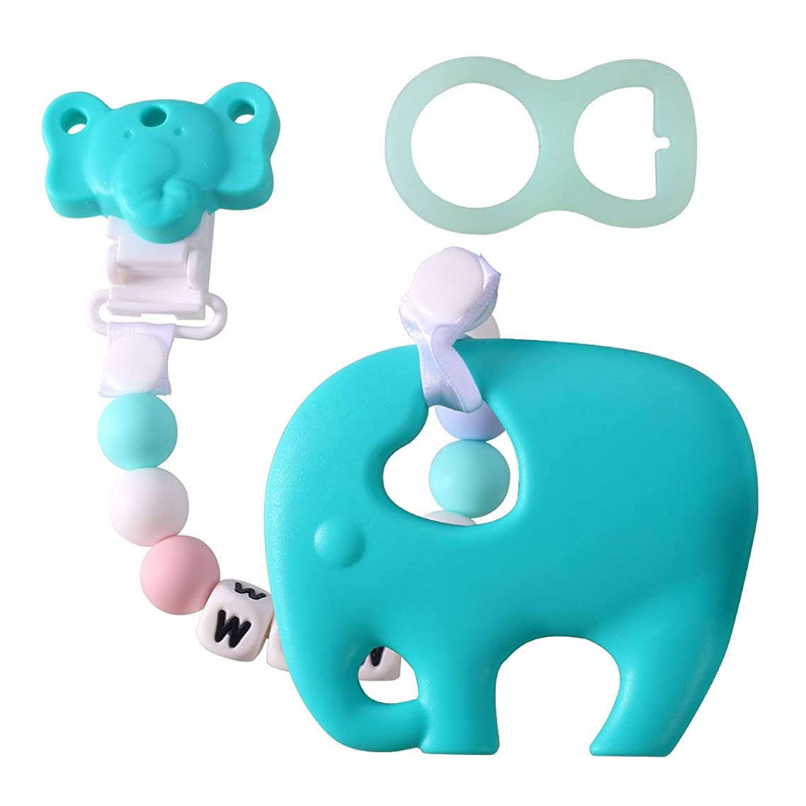 Baby Teething Toys Silicone Elephant Teether With Pacifier Clip Holder Set Infant Unisex Chew For Newborn Babies Shower Gift