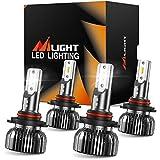 Nilight E1 9005 9006 LED Headlight Bulb Kit, 350% Brighter, 100W 20,000 Lumens LED High Beam Low Beam Bulbs Combo, 6000K Cool White, Mini Size, Pack of 4