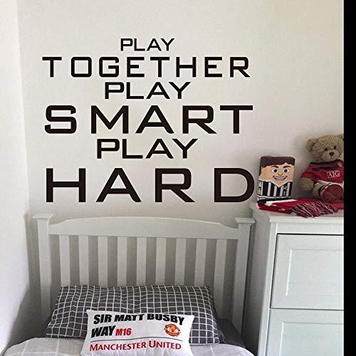 Blrpbc Adesivi da Parete Adesivi Murali Large Play Together Smart Hard Qutoe Baketball Hall Kids Room Play Quote Playroom Nursery Vinyl Decor 81x63cm