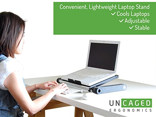 Uncaged Ergonomics WorkEZ LIGHT Ergonomic Portable Lightweight Folding Aluminum Laptop Cooling Stand & Lap Desk Tray for Bed Couch. Adjustable height angle tilt notebook computer macbook desktop riser table-top holder, black (WELb) Photo #8