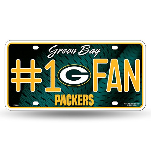 NFL Rico Industries #1 Fan Metal License Plate Tag, Green Bay Packers